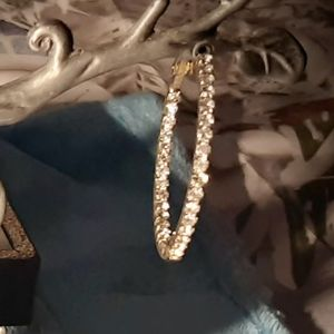 various Jewelry - 💎Stunning gold toned large  Crystal hoops💎